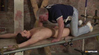bound naked twink gets his dick edged