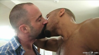 muscle bear takes a big spanish cock up his ass
