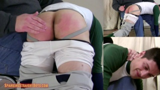 straight boy squirms over daddy's knee