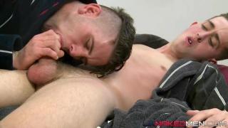 luke's massive, raw uncut cock sliding inside Ross