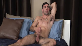 stud with furry armpits jacks his dick