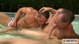 three hunks suck and fuck in pool