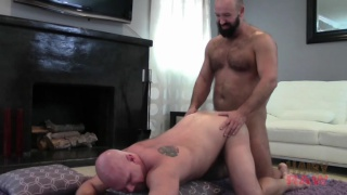 bald daddy gets his beefy ass fucked raw