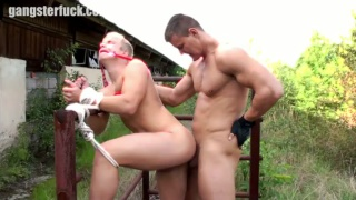cute blond stud gets an ass full outside