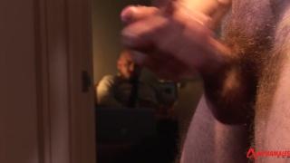 adam dacre strokes his big cock