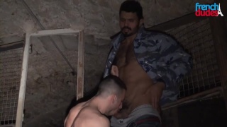 getting a blowjob in a dirty basement