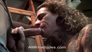 blond rocker cums on his buddy's huge dick