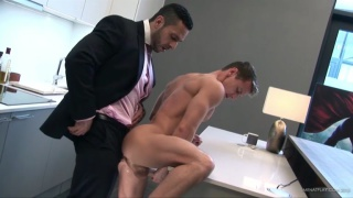 executive fucks naked stud in his kitchen