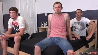 new guy watches two experienced guys fucking