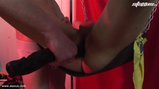 horny blond brit gets dildo fucked in sling