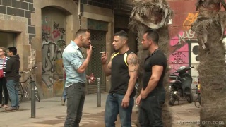 two euro hunks pick up a third on the street