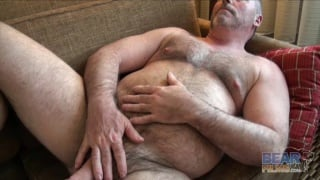 suited bear jacks his cock in cheap motel