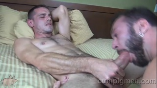 ethan palmer takes care of brett bradley's morning wood