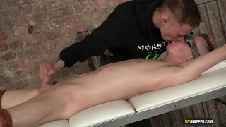 cj summers roped to table for a cock edging