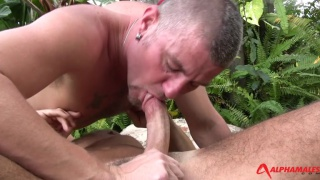 Christian Matthews and Max Dunhill fuck outdoors