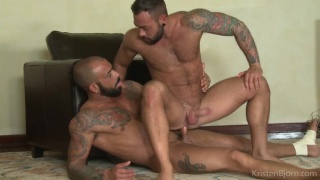 sergi feeds juanjo his big cock to forget his sore foot