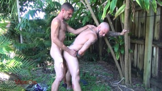 horny pig gets his ass bred in the backyard