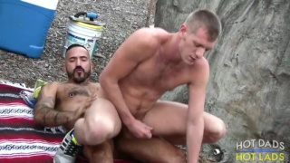 horny men flip flopping bare outside