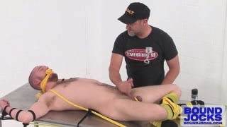 jockstrap hunk tied down and tickled