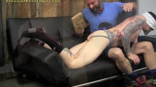 blindfolded inked stud gets his ass paddled