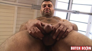 adorable hairy guy beating off