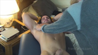 naked muscle hunk gets tickled