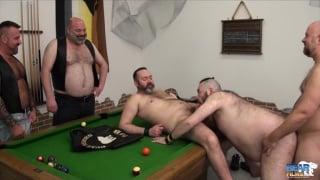 5 bear men fuck on billiards table