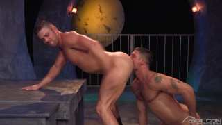 muscle hunk eats stud's ass until he begs for cock