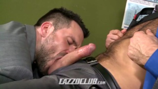 wolf finds his boss jacking his dick
