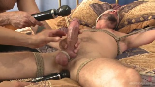 bound texan gets his big dick teased and edged