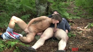 big rugby bloke fucks british lad in the woods