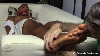 personal trainer mikey gets his bare feet licked and rubbed