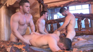five guys fuck in this cabin getaway