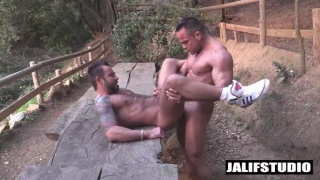 straight muscle hunk fucks gay dude in his sneakers