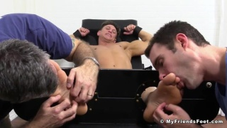 bryce evans strapped into the tickle chair