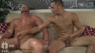 brawny blond guy gets his gay cheery popped