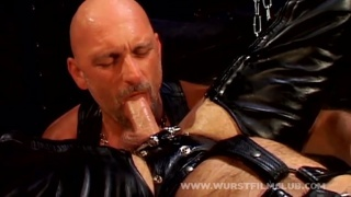 euro leather daddies play in a sling