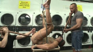 guy tied up and edged in the laundromat