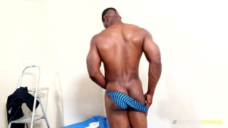 akira jyn strokes his fat cock