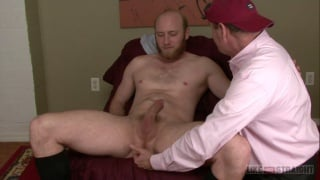 scruff straight guy gets sucked off by old man
