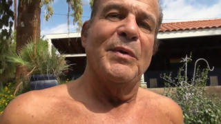 latino daddy masturbates by the pool