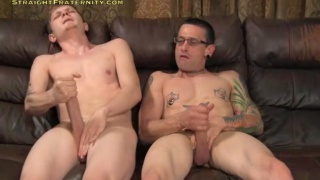 straight guy lets another dude suck his huge cock