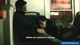 straight guy gets head on a train