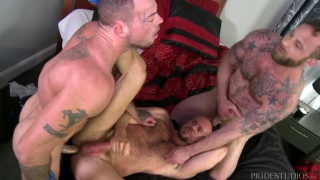 matt stevens gets spit roasted by Sean Duran and Derek Parker