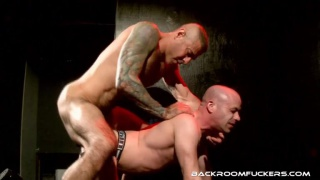 inked daddy fucks bottom in jockstrap