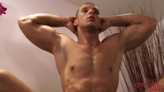 Muscular Kristian gets naked and shows off