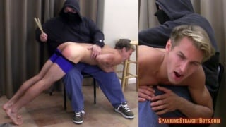 blond adam goes over daddy's knee for spanking