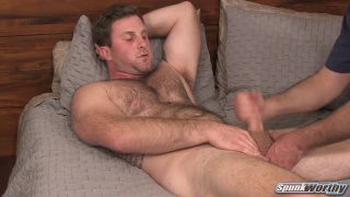 beefy furry dude gets his first handjob
