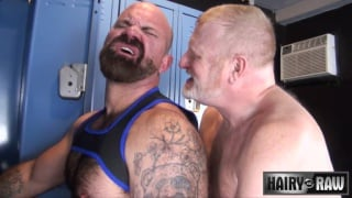 bareback locker room fuck with Rusty McMann and Victor West