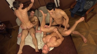 Erik's fat cock stretches Bradley's tight ass in gang bang